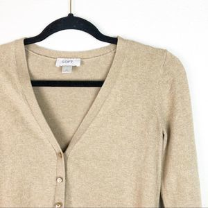LOFT Tan Button Up Long Sleeve Cardigan